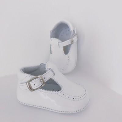 Babies White Patent Pram Shoes