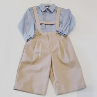 Boys Beige Shorts Dungaree Set