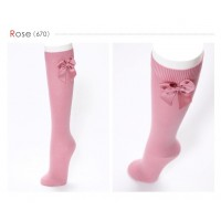 Long Bow Sock Vintage Pink