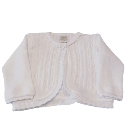 White Knitted Flower Cardigan