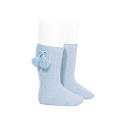 Long Ribbed Pom Pom Socks Baby Blue