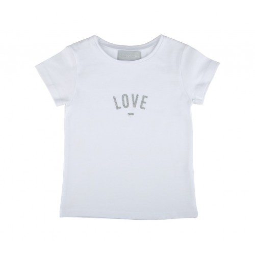 White 'LOVE' Cap-Sleeved T-Shirt