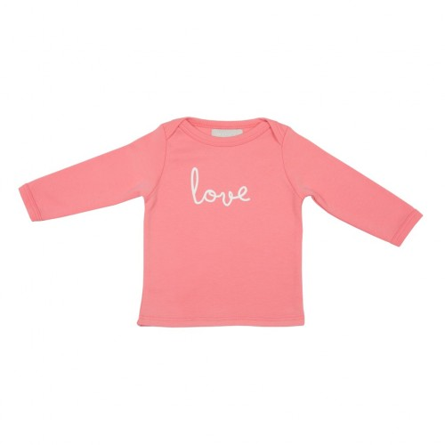 Flamingo Pink 'Love' Baby T Shirt