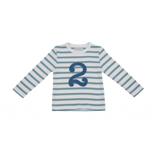 Ocean Blue & White Breton Striped Number T Shirt