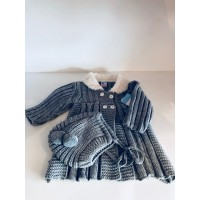 Knitted Pram Coat & Matching Bonnet -Grey