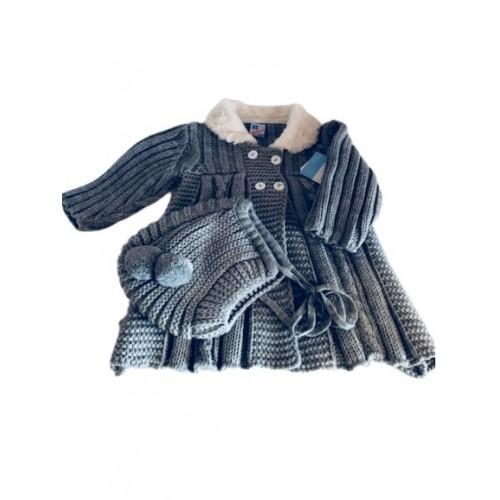 Knitted Pram Coat & Matching Bonnet -Grey