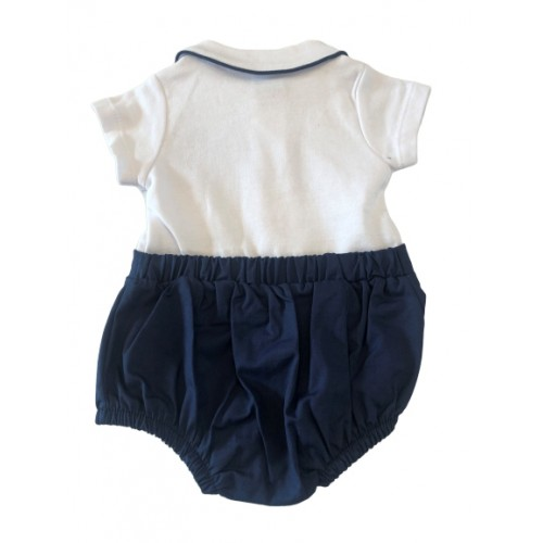 BABY BOYS ALL IN ONE SUIT NAVY/WHITE