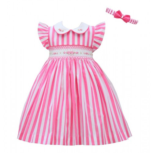 Candy Pink & White Dress with Matching Headband