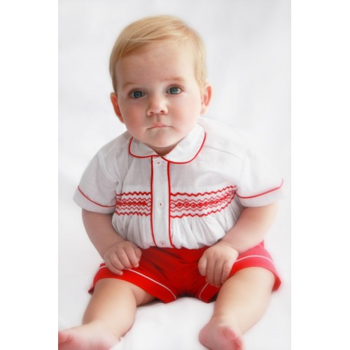 Boys Smocked Shirt & Shorts Set Also In Baby Blue