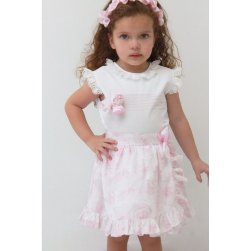 Pink Rose Skirt & Blouse Set