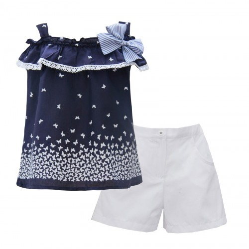 Girls Navy & White Butterfly Set