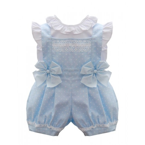 Girls Pale Blue Dungaree Set