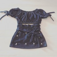 Navy Pin Strip Top & Skirt Set