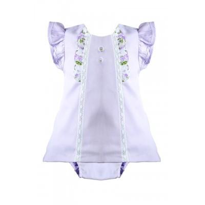 PRETTY ORIGINALS Baby Girls  Lilac Dress and Knicker Set