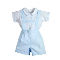 Boys Linen Shirt And Dungarees Set