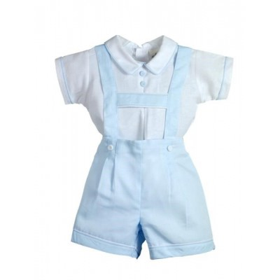 New in Pretty Originals Boys Linen Shirt and Dungarees set