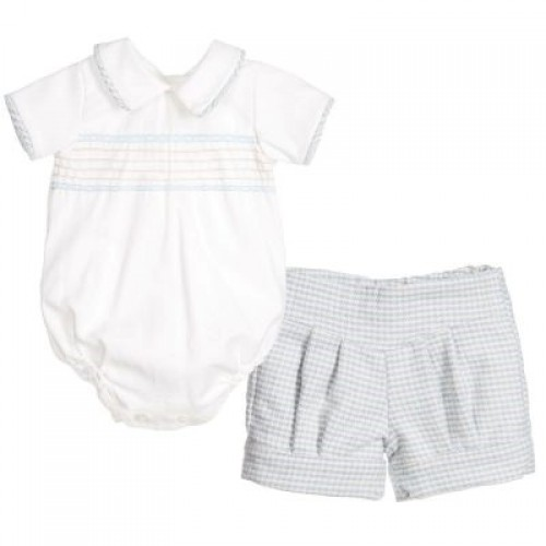 Shirt & Checked Shorts Set Blue/Beige