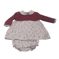 Burgundy Floral Dress & Knickers