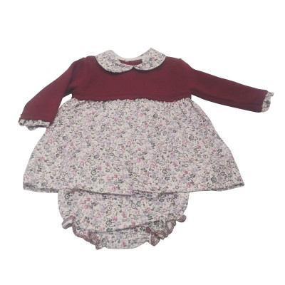 MNH Burgundy/floral  half knitted dress & knickers
