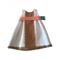 Tartaleta White/Peach Sash belt dress