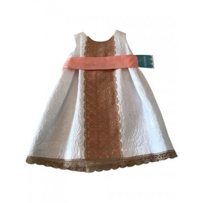 Tartaleta White/Peach Sash belt dress