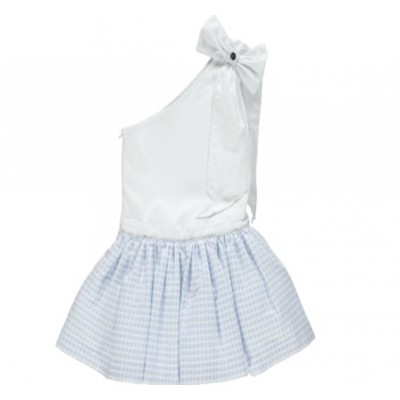 Chua Checked blue one shoulder bow dress