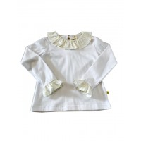Chua White frill neck top with  yellow star print