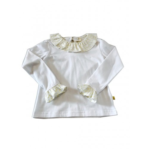 White Frill Neck Top With  Yellow Star Print