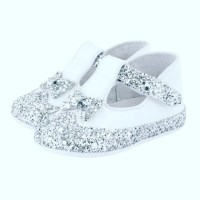 White Patent Silver Glitter Shoes