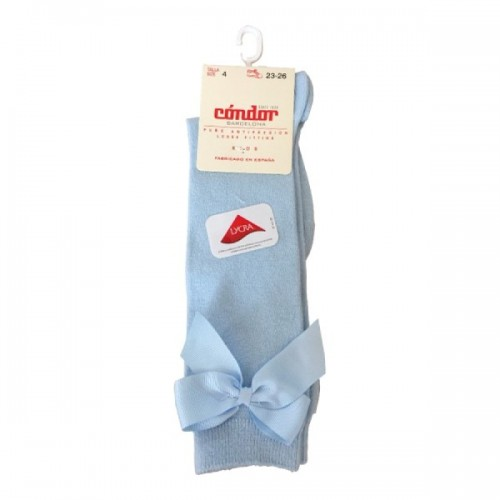 Condor Baby Blue Long Bow Socks