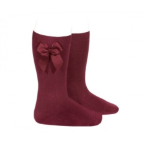 Burgundy Long Bow Socks