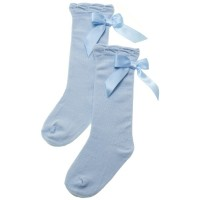 Baby Blue Long Bow Socks