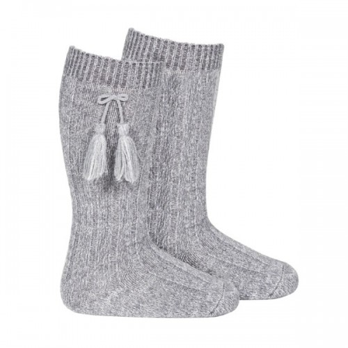 Long Tassel Socks Grey