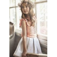 Peach Sleeveless Top & White Sash Belt Skirt