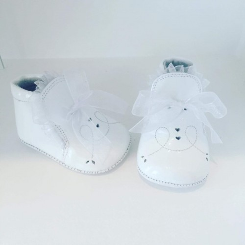 White Patent Bow Pre Walker Shoe