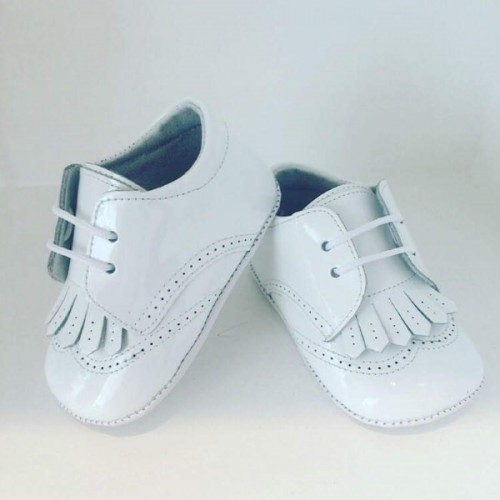 White Patent Tassel Pre Walker Shoes