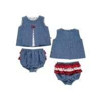 Denim Jam Pant Set - Red