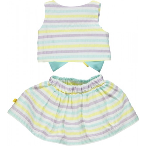 Pastel Strip Bow Top & Skirt Set
