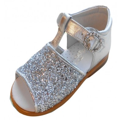PRETTY ORIGINALS SILVER GLITTER SANDALS