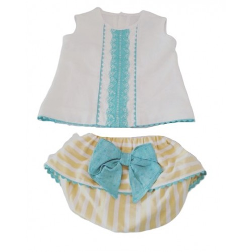 Girls Vest Top & Bow Jam Pant Set