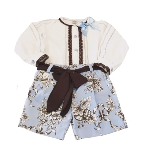 Baby Blue Shorts & Blouse Set