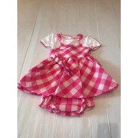 Pink Check Dress & Top Set  With Matching Headband