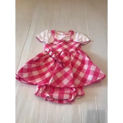 Pink Check Dress & Top Set  With Matching Headband