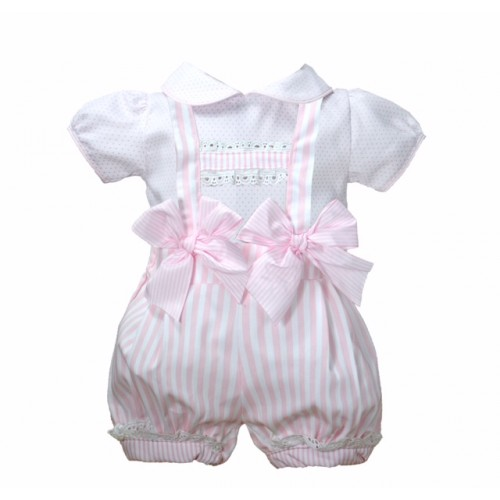 Pink Striped Dungaree Set