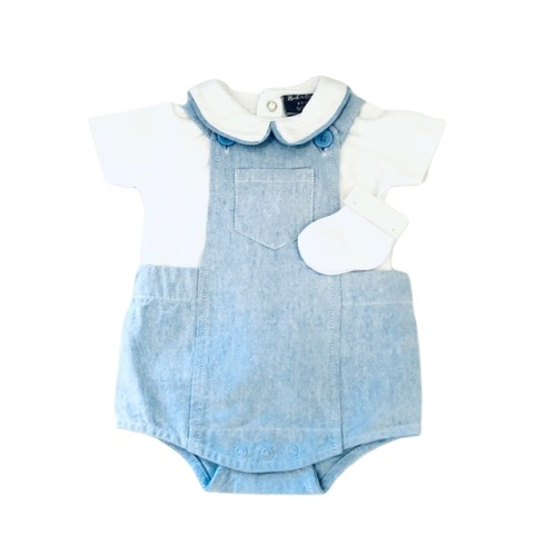 Baby Boys Dungaree Set & Socks