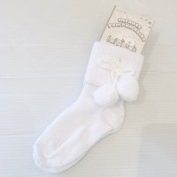 White Pom Pom Ankle Socks