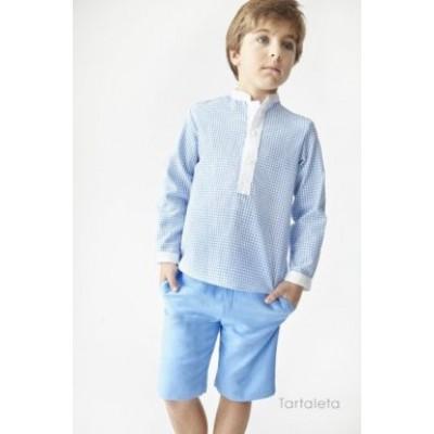 Gingham Shirt & Linen Shorts Set