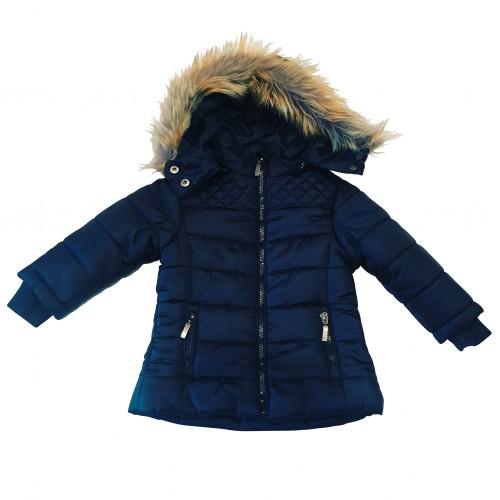 Navy Blue Fur Hooded Coat
