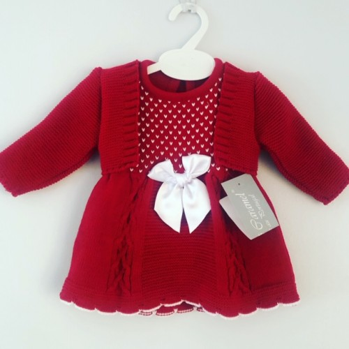 Baby Girls Knitted Dress & Cardigan Set