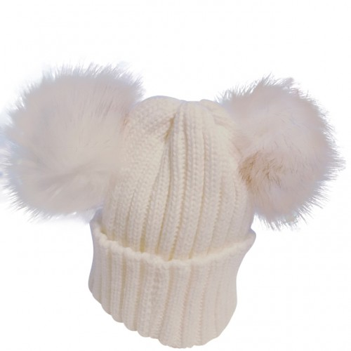 Cream Knitted Double Fur  Pom Pom Hat